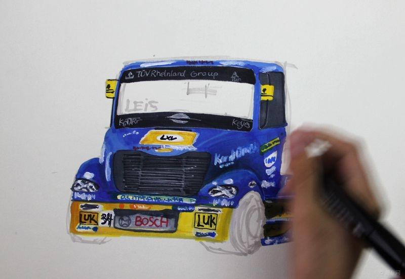 手绘汽车--画一组超级大卡车