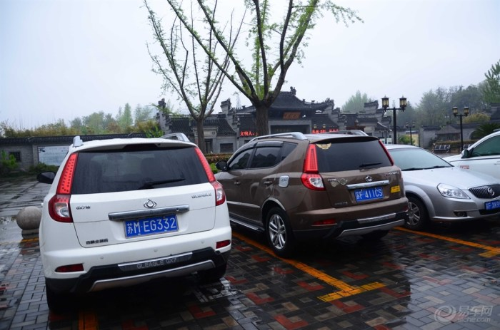 风景区停车场,我占了人家的专用车位了,看看两种风格的小七.