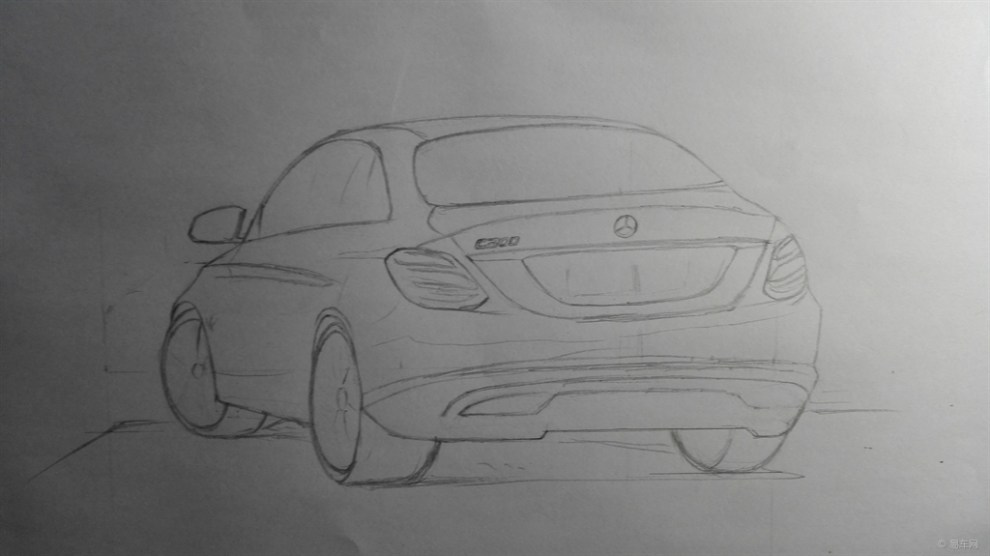 【我爱画汽车】铅笔手绘随笔全新梅赛德斯奔驰c300