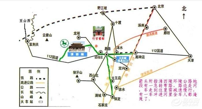 清西陵自驾游交通图和注意事项